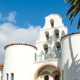 View of Hepner Hall with blue sky in the background