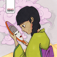 Illustration of girl in Kimono looking at handheld mirror